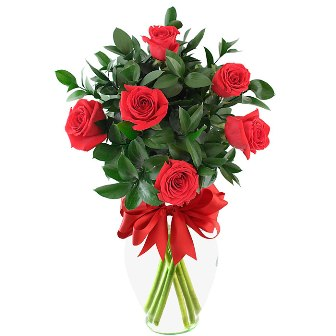 Arreglo floral con 6 rosas rojas