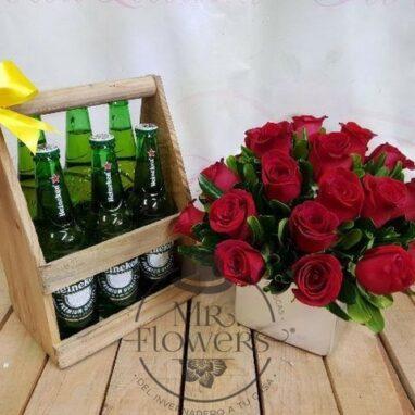 Rosas y canasta de cervezas - Arrreglos para Hombres de cumpleaños